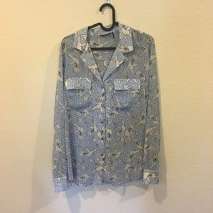 Marciano Tops - Marciano blue and white bird button down top